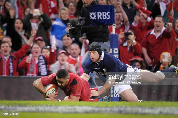 Wales' Taulupe Faletau scores a try during the RBS Six Nations match at the Millennium Stadium Cardiff