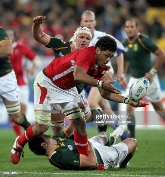 Wales' Toby Faletau is challenged by South Africa's Jaque Fourie