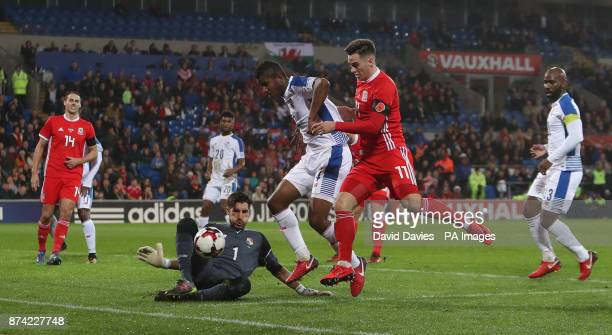 Wales' Tom Lawrence has his shot saved by Panama's Jaime Penedo during the International Friendly match at the Cardiff City Stadium
