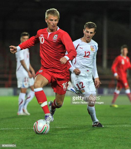 Wales U21's Ryan Doble battles with Czech Republic's U21's Vladimir Darida during the UEFA Under 21 EURO 2012 Qualifying match at the Racecourse...