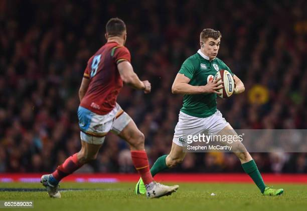 Wales United Kingdom 10 March 2017 Garry Ringrose of Ireland in action against Rhys Webb of Wales during the RBS Six Nations Rugby Championship match...