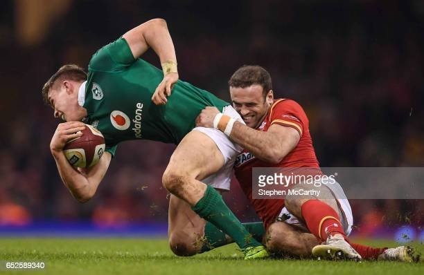 Wales United Kingdom 10 March 2017 Garry Ringrose of Ireland is tackled by Jamie Roberts of Wales during the RBS Six Nations Rugby Championship match...