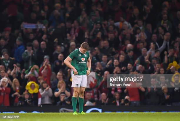 Wales United Kingdom 10 March 2017 Garry Ringrose of Ireland reacts after the RBS Six Nations Rugby Championship match between Wales and Ireland at...
