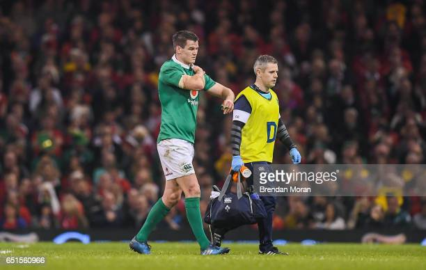 Wales United Kingdom 10 March 2017 Jonathan Sexton of Ireland leaves the pitch for a head injury assesment during the RBS Six Nations Rugby...