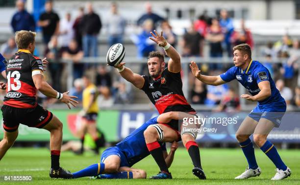 Wales United Kingdom 2 September 2017 James Thomas of Dragons is tackled by Ross Byrne of Leinster during the Guinness PRO14 Round 1 match between...