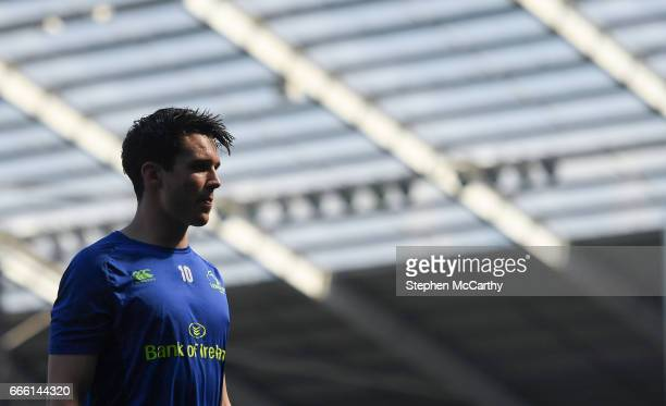 Wales United Kingdom 8 April 2017 Joey Carbery of Leinster prior to the Guinness PRO12 Round 19 match between Ospreys and Leinster at the Liberty...