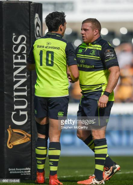 Wales United Kingdom 8 April 2017 Sean Cronin is congratulated by his Leinster teammate Joey Carbery after scoring their side's first try during the...
