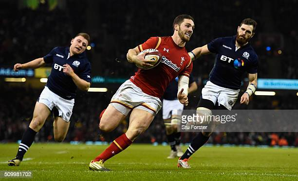 Wales wing George North crosses for his try during the RBS Six Nations match between Wales and Scotland at Principality Stadium on February 13 2016...