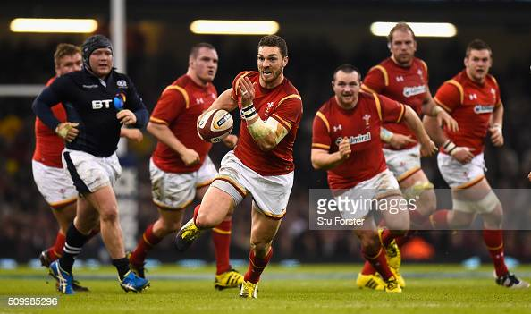 Wales wing George North makes a break for his try during the RBS Six Nations match between Wales and Scotland at Principality Stadium on February 13...