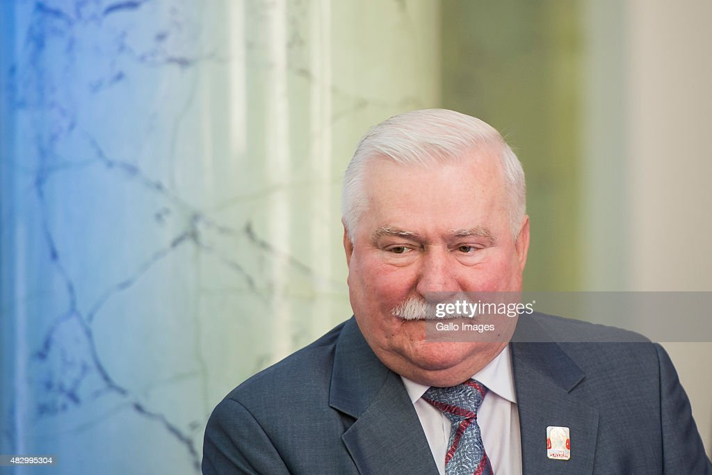 WARSAW, POLAND AUGUST 4(SOUTH AFRICA AND POLAND OUT): Walesa attends the Solidarity Awards Gala on August 4, 2015 at the Presidential Palace in Warsaw, Poland. This year's laureate is Russian journalist, Zhanna Nemtsova, the daughter of murdered Russian liberal politician, Boris Nemtsov. Nemstov was instrumental in the introduction of capitalism into the post-Soviet economy. The award was presented by the President of Poland, Bronislaw Komorowski, and the Chairman of the Award Committee, former Polish President <a gi-track='captionPersonalityLinkClicked' href=/galleries/search?phrase=Lech+Walesa&family=editorial&specificpeople=93677 ng-click='$event.stopPropagation()'>Lech Walesa</a>.