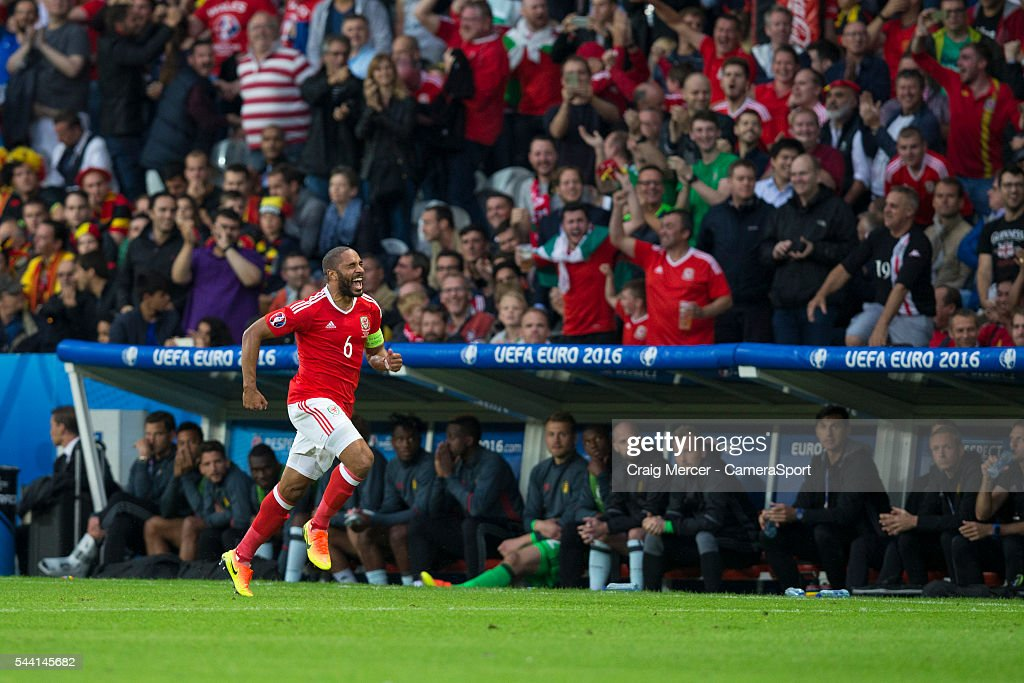 Wales's <a gi-track='captionPersonalityLinkClicked' href=/galleries/search?phrase=Ashley+Williams+-+Soccer+Player&family=editorial&specificpeople=13495389 ng-click='$event.stopPropagation()'>Ashley Williams</a> celebrates scoring his sides equalising goal to make the score 1-1 during the UEFA Euro 2016 Quarter-final match between Wales and Belgium at Stade Pierre Mauroy on July 01 in Marseille, France.