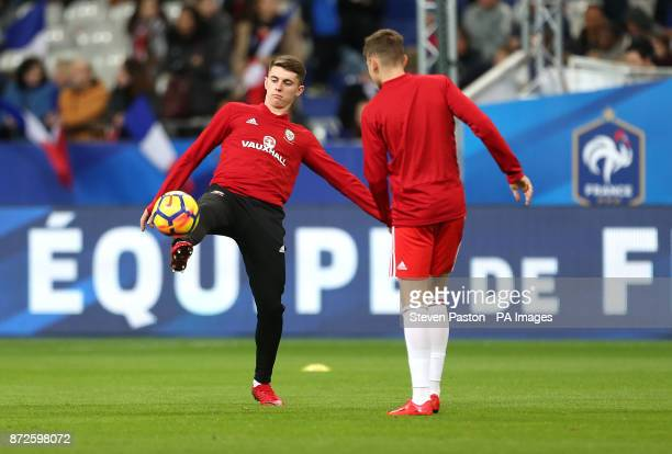 Wales's Ben Woodburn warms up prior to the International Friendly match at the Stade de France Paris