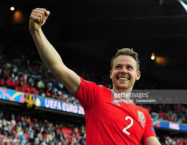 Wales's Chris Gunter celebrates his sides win during the UEFA Euro 2016 Round of 16 match between Wales and Northern Ireland at Parc des Princes on...