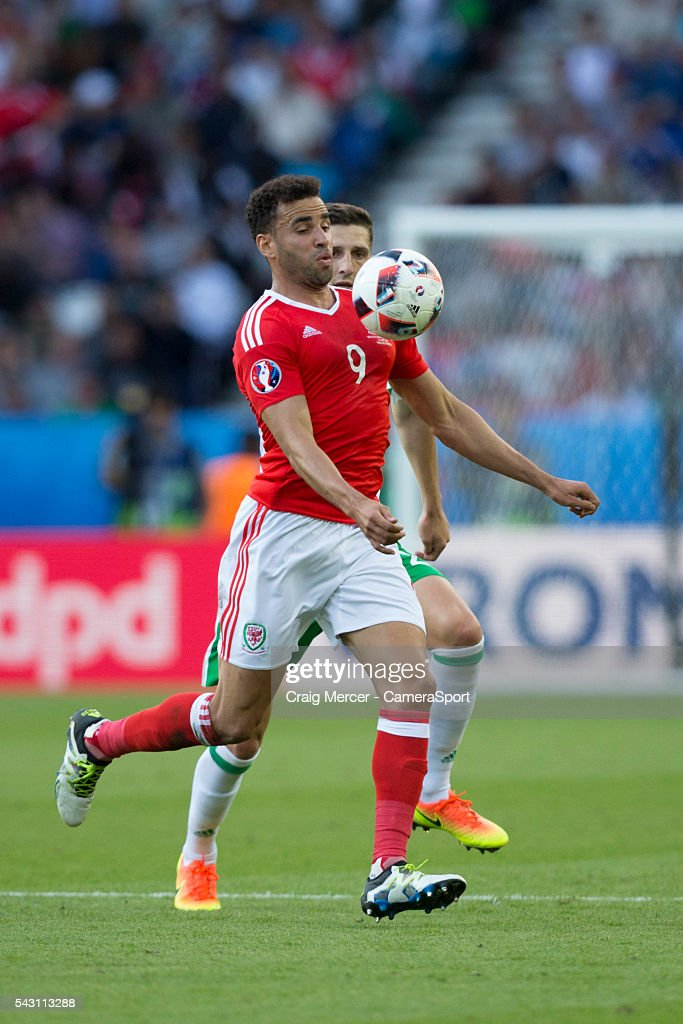 Wales's Hal Robson-Kanu in action during the UEFA Euro 2016 Round of 16 match between Wales and Northern Ireland at Parc des Princes on June 25 in Paris, France.