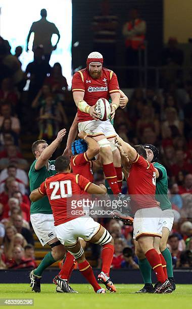 Wales's lock Jake Ball claims the ball in the line out during the 2015 Rugby World Cup warm up rugby union match between Wales and Ireland at The...