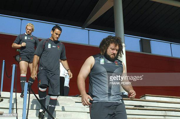 Wales's prop Adam Jones arrives with team mates to attend a training session 08 September 2007 in preparation for a rugby world cup 2007 match at the...