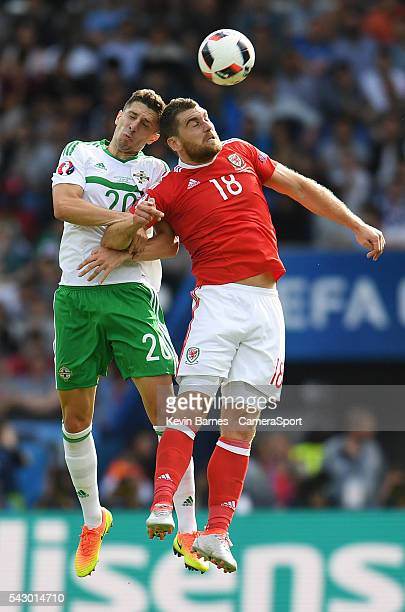 Wales's Sam Vokes vies for possession with Northern Ireland's Craig Cathcart during the UEFA Euro 2016 Round of 16 match between Wales and Northern...