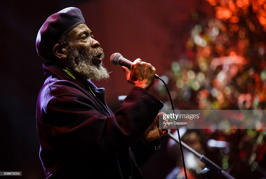 Walford 'Poko' Tyson from roots reggae band Misty In Roots performs on the second day of the BBC 6 Music Festival at Colston Hall on February 13, 2016 in Bristol, England.
