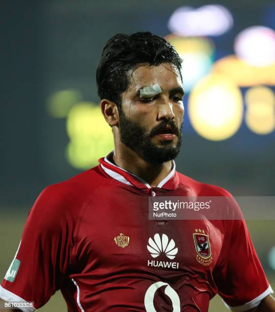 Walid Azaroo of AlAhly Sporting Club celebrates a score during the Egypt Premier League match between AlAhly Sporting Club and Ittehad at AlSalam...