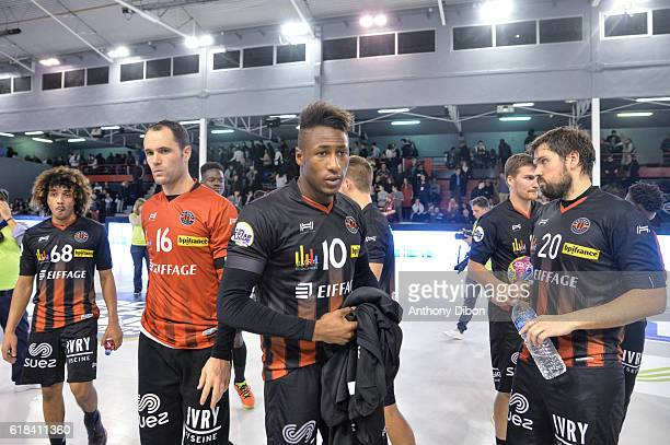 Walid Badi Francois Xavier Chapon and Mahamadou Keita of Ivry looks dejected during the Lidl Star Ligue match between Ivry and Saint Raphael on...