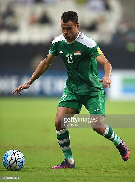 Walid Salem of Iraq in action during the 2018 FIFA World Cup Qualifier match between UAE and Iraq at Mohamed Bin Zayed Stadium on November 15 2016 in...