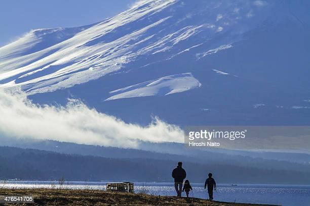 Walk in the family towards Mount Fuji
