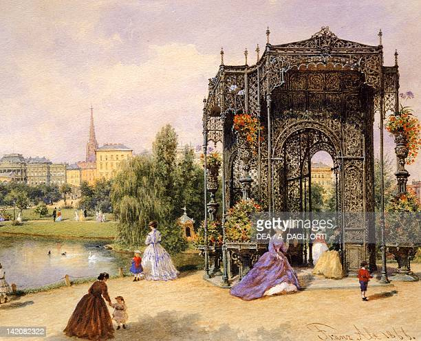 A walk in the Vienna Prater Austria 19th Century Watercolour