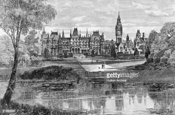 A walk leading up from a lake toward Eaton Hall in Cheshire Original Publication The Graphic pub 1886