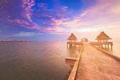 Walk pass into sea coast skyline with beautiful sunset sky background, natural landscape background