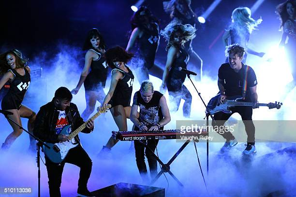 Walk The Moon performs during the Verizon Slam Dunk Contest during NBA AllStar Weekend 2016 at Air Canada Centre on February 13 2016 in Toronto...