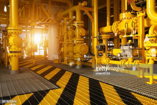 walk way in oil and gas construction platform, oil and gas process platform, remote platform for production oil and gas, Construction in offshore. Industrial concept.
