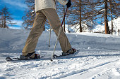 Walk with snowshoes on the beaten track