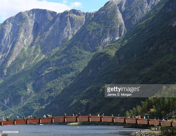 Walkbridge over Norway fjord river on February 8th 2017 in Norway