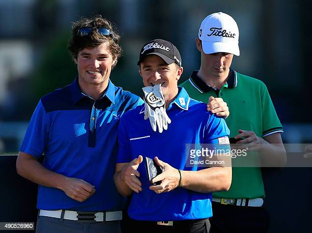 Walker Cup winners Cormac Sharvin Paul Dunne and Gary Hurley on the second tee during the first practise round of the 2015 Alfred Dunhill Links...
