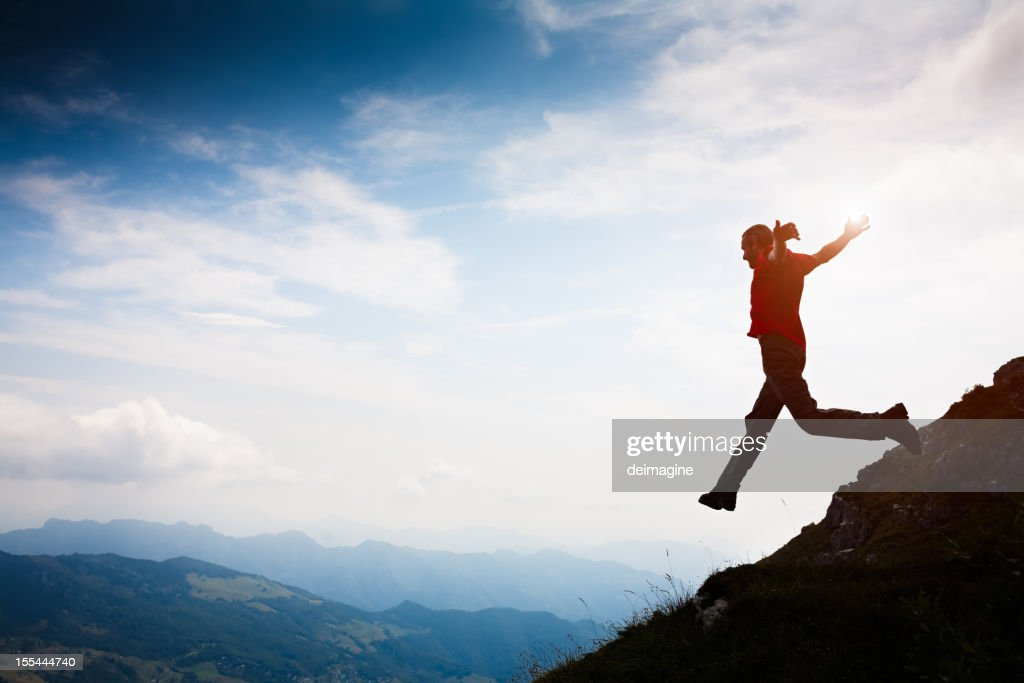 Walker Hiker Men Run on top of the Mountain