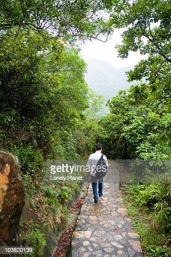 Walker on Lantau trail.
