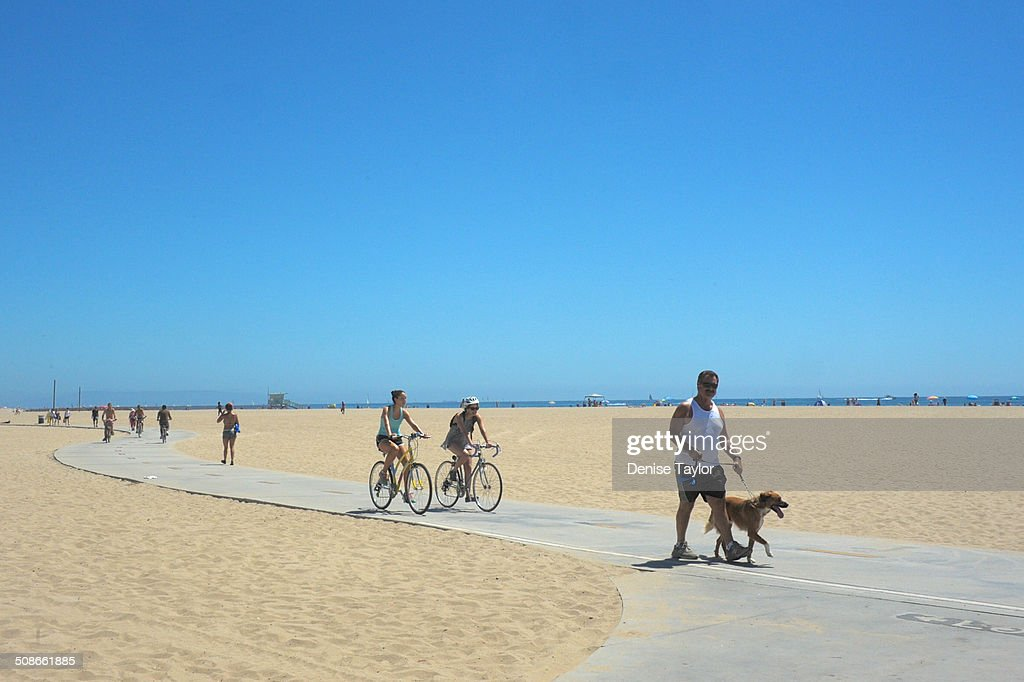 Walkers and bike riders and a dog on the Santa Monica beach boardwalk. August 17, 2014