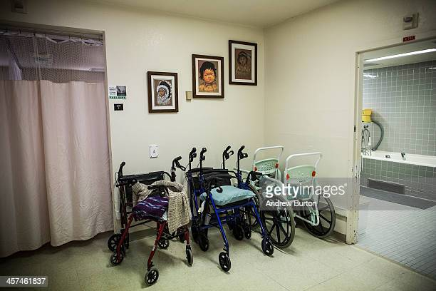 Walkers sit in a corner of the hospice care wing at California Medical Facility on December 17 2013 in Vacaville California As of June 2013...