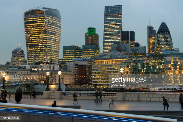 'Walkie Talkie' building & London skyline at dusk, London, UK