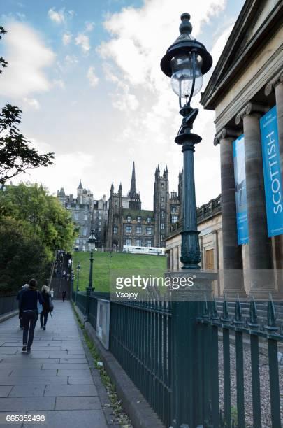 Walking at the old town, Playfair Steps, Edinburgh, Scotland