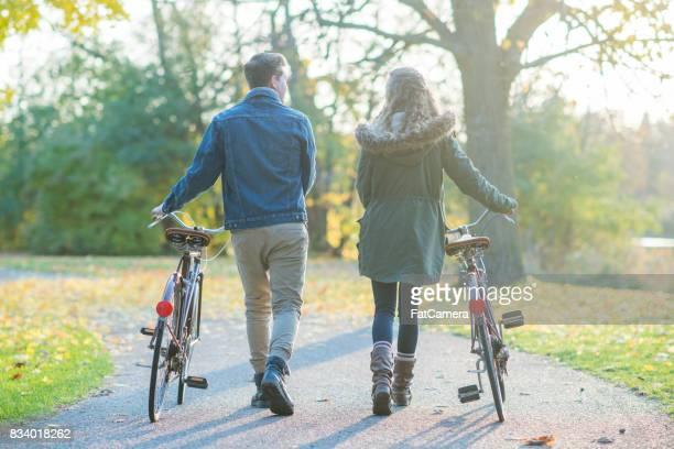 Walking Bikes On A Trail