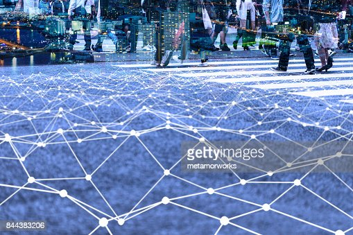 Walking crowd and mesh communication network concept. Internet of Things. Smart city. Information Communication Technology. : Stock Photo