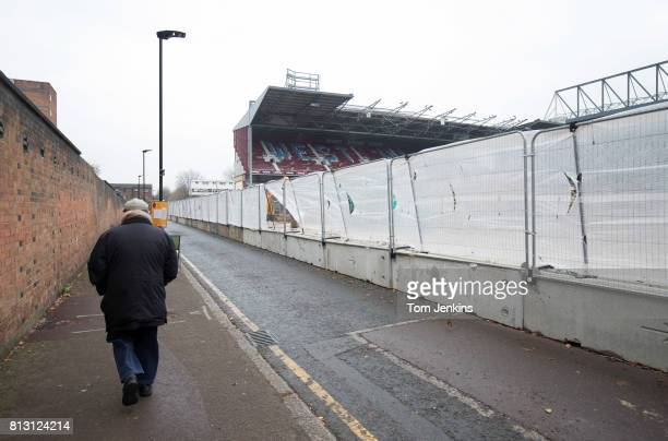 Walking down Priory Road as demolition work continues after the destruction of the East Stand at West Ham Unitedâs old stadium the Boleyn Ground on...