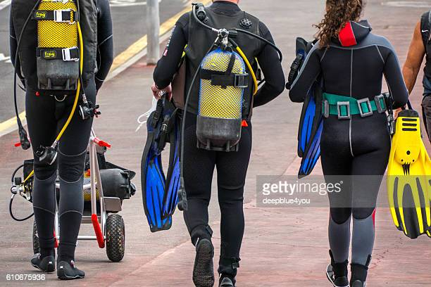 Walking group of divers