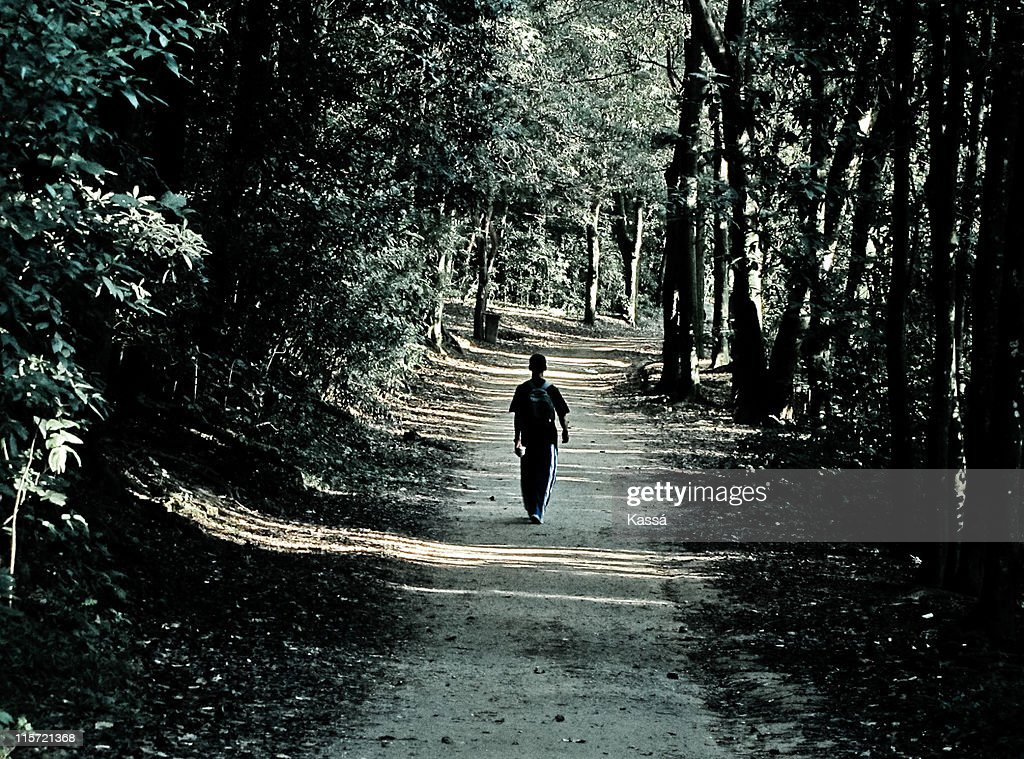 Walking lonely road : Stock Photo
