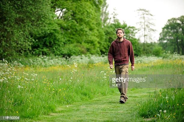 Walking man in nature