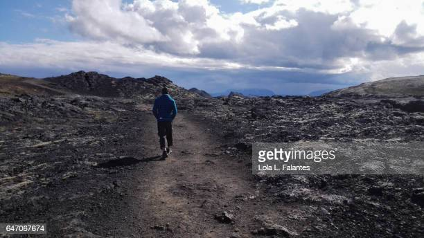 Walking on a lava field