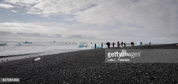 Walking on diamont beach : Foto de stock