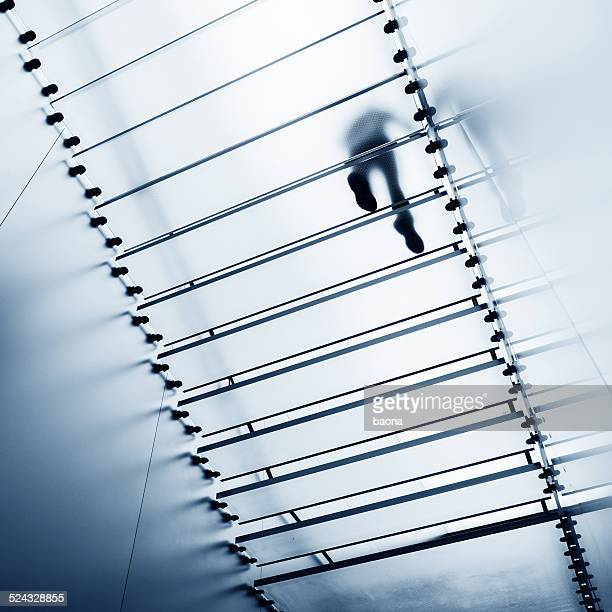 walking on glass staircase
