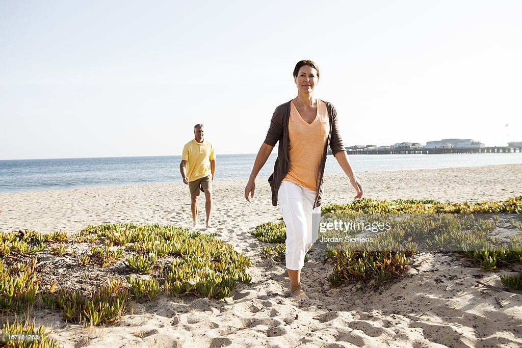 Walking on the beach. : Stock Photo